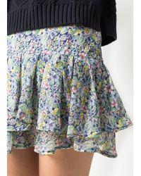 Mango - Multicolor Ruffled Floral Mini Skirt - Lyst