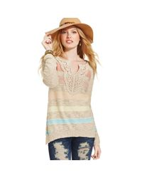 American Rag | Natural Long Sleeve Striped Sweater | Lyst
