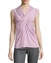 Natori - Purple Crisscross Sleeveless Knit Top - Lyst