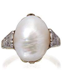 Kojis - Metallic Gold Diamond Natural Pearl Ring - Lyst