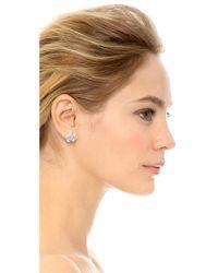 kate spade new york - Metallic Graceful Floral Large Stud Earrings Whiteclearsilver - Lyst
