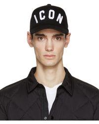 DSquared² - Black Icon Cap for Men - Lyst