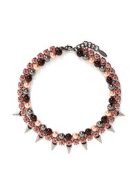 Joomi Lim | Pink 'vicious Love' Pearl Crystal Double Strand Necklace | Lyst