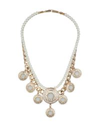 Mikey | Metallic Pearl Chain Enamel Multi Disc Necklace | Lyst