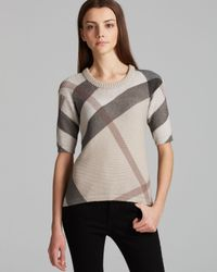 Burberry | Gray Brit Check Crewneck Sweater | Lyst