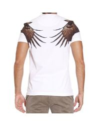 Class Roberto Cavalli White T-shirt Short Sleeve Crewneck Print Eagle for men