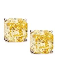 Fantasia by Deserio - Yellow Canary Cubic Zirconia Stud Earrings - Lyst