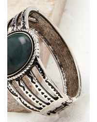 Forever 21 | Green Etched Faux Stone Hinge Bracelet | Lyst