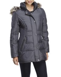 Anne Klein | Gray Faux Fur Trim Hooded Down Puffer Coat | Lyst