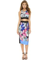 MILLY Multicolor Ombre Floral Print Midi Skirt - Multi