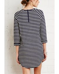 Forever 21 - Blue Raglan-sleeved Stripe Dress - Lyst