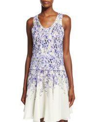 Giambattista Valli - Blue Allover Floral-print Silk-cashmere Tank - Lyst