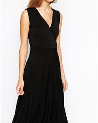 ASOS | Black Midi Dress With Wrap Front And Pleated Skirt | Lyst
