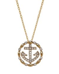 Lord & Taylor | Metallic 14k Yellow Gold Diamond Anchor Necklace | Lyst