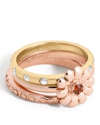 COACH Multicolor Flower Stacking Ring