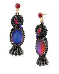 Betsey Johnson | Multicolor Raven Drop Earrings | Lyst