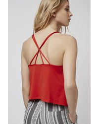 TOPSHOP - Red Strappy Back Trim Cami - Lyst