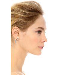 Pamela Love Black Horn Earrings - Silver/onyx