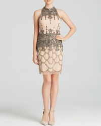 Adrianna Papell Pink Dress - Illusion High Neck Beaded Sheath