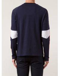 Balmain Blue Long-Sleeved Cotton T-Shirt for men
