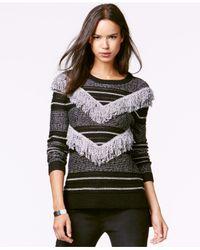 RACHEL Rachel Roy Black Striped Fringed Pullover Sweater
