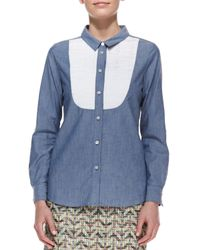 kate spade new york Longsleeve Buttondown Bib Shirt Bluewhite