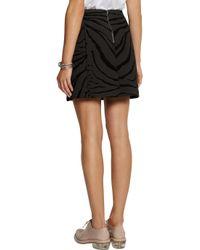 Carven Black Zebraprint Woolblend Mini Skirt