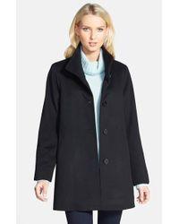 Fleurette Black Stand Collar Cashmere Coat