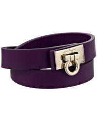 Ferragamo | Purple Double Wrap Leather Bracelet | Lyst