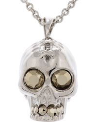 Alexander McQueen - Metallic Silver Crystal Corset Skull Pendent Necklace for Men - Lyst