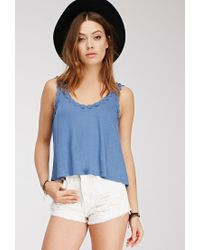 Forever 21 - Blue Crocheted Daisy-trimmed Top - Lyst