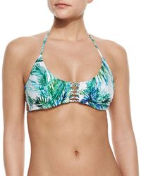 Pilyq - Multicolor Printed Braided Halter Swim Top - Lyst
