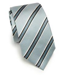 Armani - Blue Diagonal Stripe Silk Tie for Men - Lyst