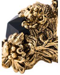 Roberto Cavalli Black Swarovski Crystal Floral Ring