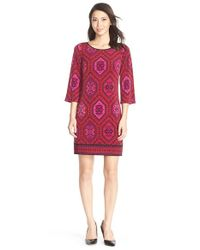 Laundry by Shelli Segal | Red Printed Jersey Shift Dress | Lyst