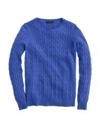 J.Crew | Blue Cambridge Cable Crewneck Sweater | Lyst