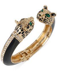 Betsey Johnson Metallic Goldtone Crystal Leopard Hinge Bangle Bracelet