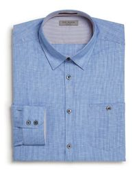 Ted Baker Blue Boblong Check Dress Shirt - Regular Fit - Bloomingdale's Exclusive for men