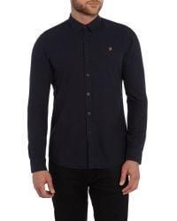Farah - Blue Steen Slim Fit Oxford Shirt for Men - Lyst