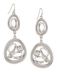 R.j. Graziano - Metallic Open Crystal Double-drop Earrings - Lyst