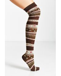 Urban Outfitters - Brown Funky Fair Isle Over-the-knee Sock - Lyst