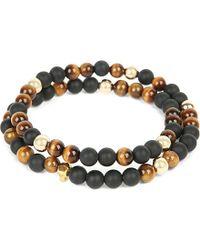 Nialaya | Black 14ct Gold Skull, Matte Onyx And Tiger Eye Beaded Bracelet | Lyst