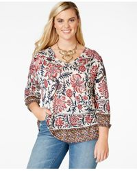 Lucky Brand | Red Lucky Brand Plus Size V-neck Printed Peasant Top | Lyst