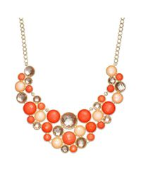 INC International Concepts - Red Goldtone Coral Stone Circle Bib Necklace - Lyst