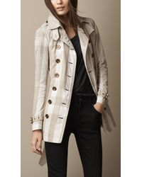Burberry Natural Short Lightweight Check Trench Coat