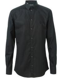 Dolce & Gabbana - Black Crown Embroidered Shirt for Men - Lyst
