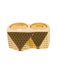 Black Scale - Metallic The Pyramid 2 Finger Ring for Men - Lyst