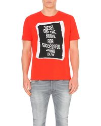 DIESEL | Red T-pasc Folded-text T-shirt for Men | Lyst