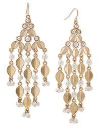 Carolee | Metallic Gold-tone Acrylic Pearl Chandelier Earrings | Lyst