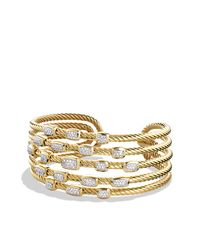 David Yurman - Metallic Confetti Wide Cuff Bracelet With Diamonds In Gold - Lyst